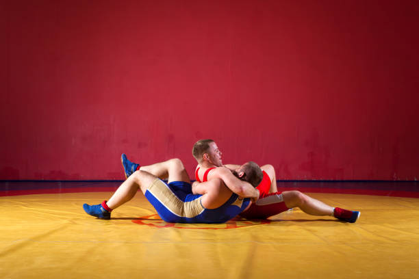 two young man  wrestlers - wrestling stock photos and pictures