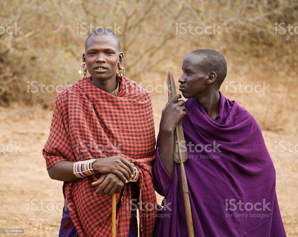 Two young masai (morani) in Kenya royalty-free stock photo