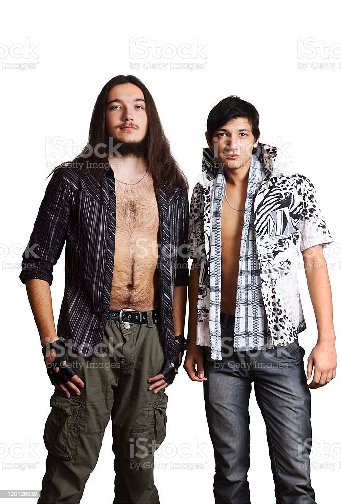 Two young men. European and Asian. stock photo