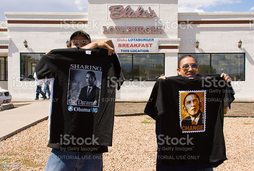Two Young Men Selling Obama T-Shirts Near Rally, New Mexico stock photo