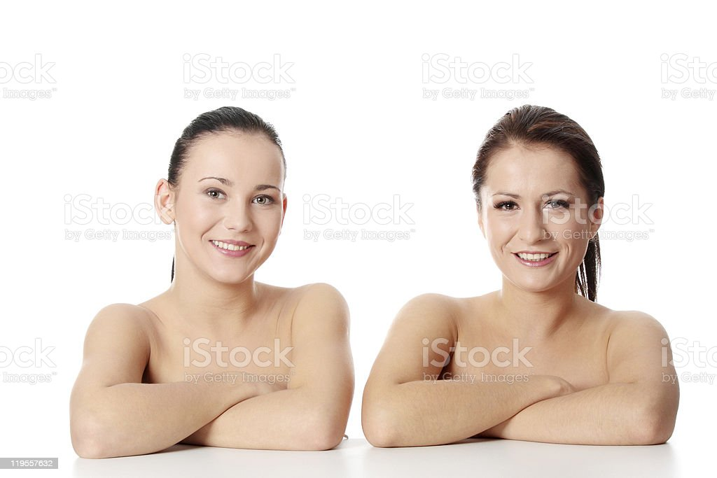 Two young naked woman royalty-free stock photo