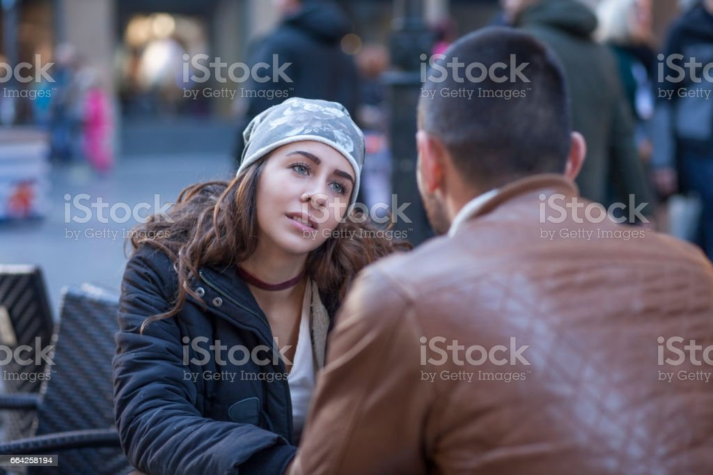 Two young people with long standing relationship want to break. stock photo