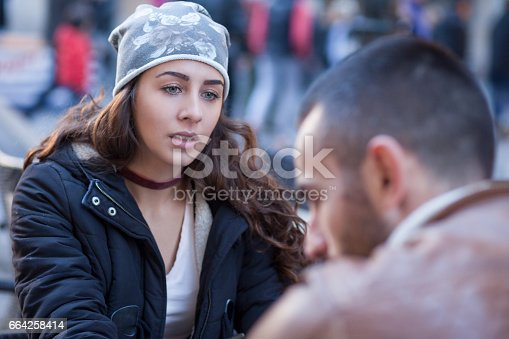 istock Two young people with long standing relationship want to break. 664258414