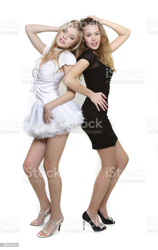 two young sexy girls in black and white royalty-free stock photo