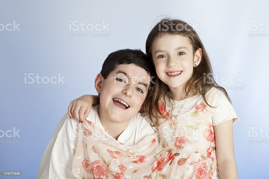 Two young silbings happy together royalty-free stock photo