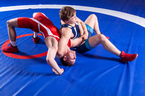 two young sportsmens wrestlers - wrestling stock pictures, royalty-free photos & images