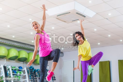istock Two young sporty women exercising in fitness studio, dancing, doing cardio, working on balance and coordination. 1018891310