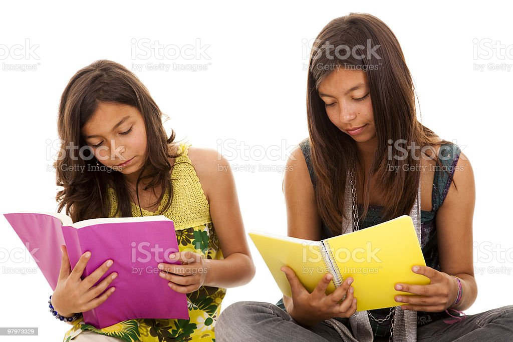 two young student sisters royalty-free stock photo