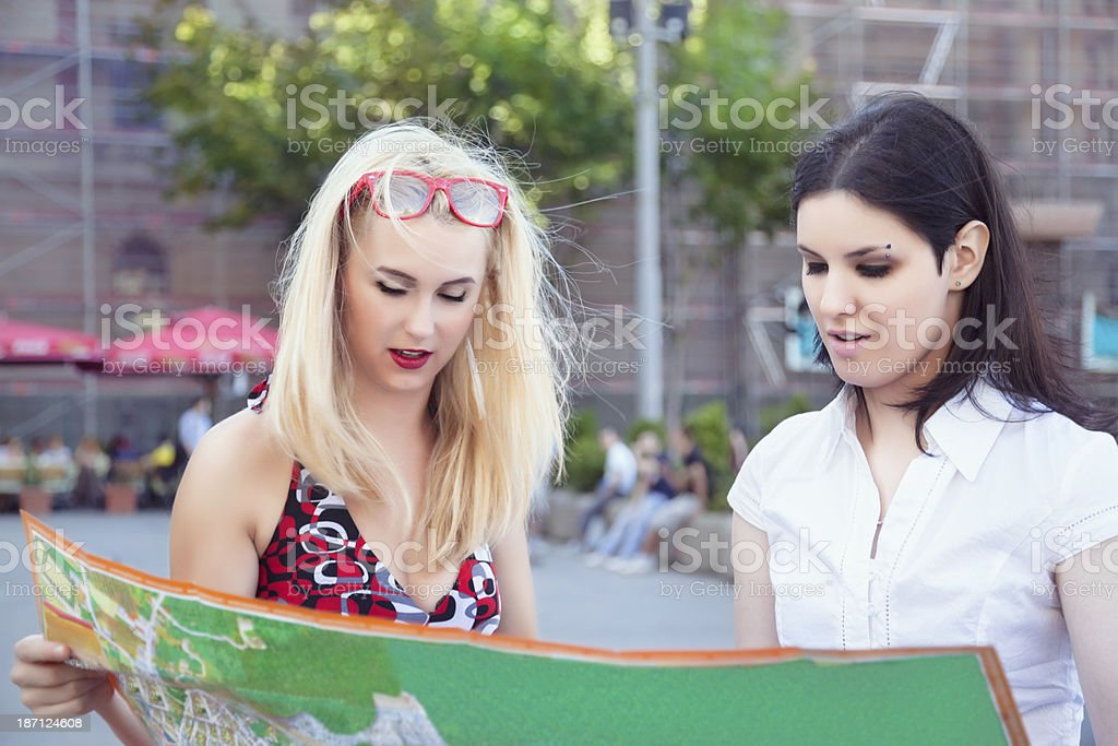 Two young tourists royalty-free stock photo