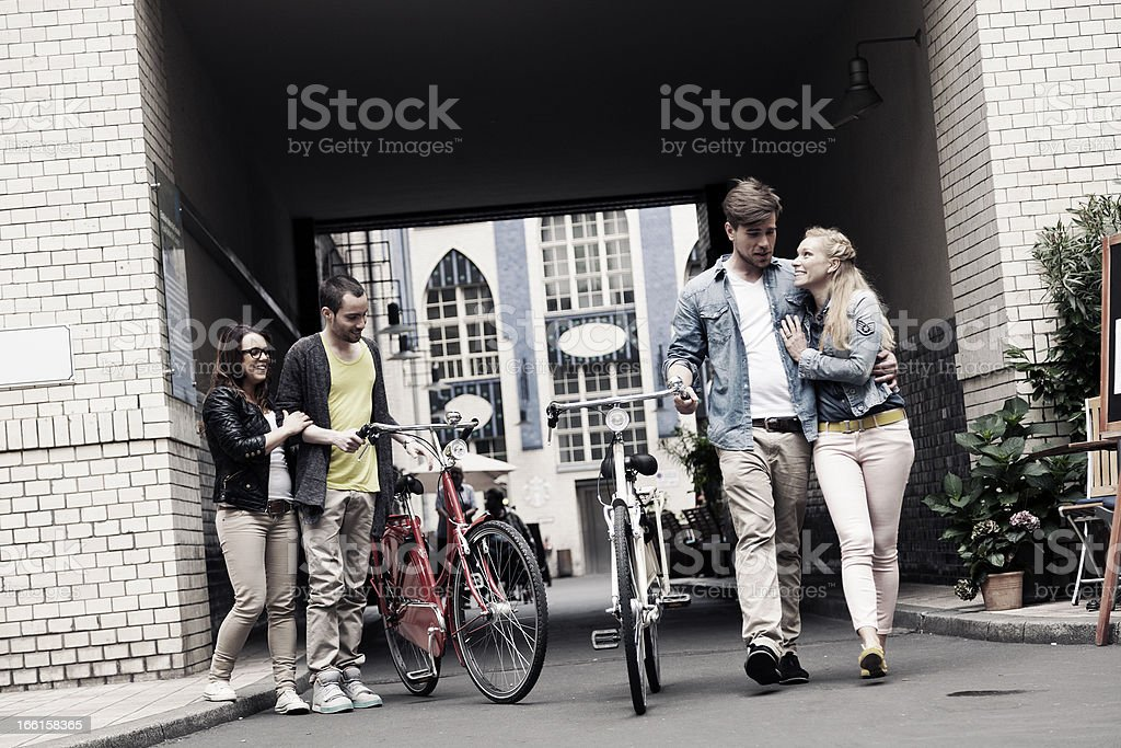Two Young Urban Couples royalty-free stock photo
