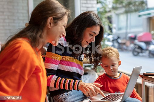 1043434558 istock photo Two Young Woman and Little Boy Looking at Laptop in a Cafe Shop 1078707054
