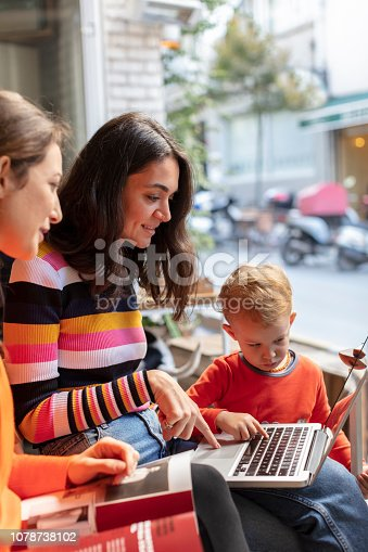 1043434558 istock photo Two Young Woman and Little Boy Looking at Laptop in a Cafe Shop 1078738102