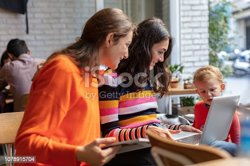 1043434558 istock photo Two Young Woman and Little Boy Looking at Laptop in a Cafe Shop 1078915704