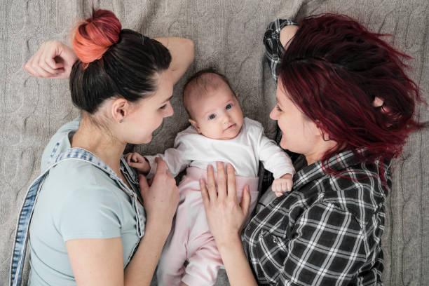twee jonge vrouwen, een lesbisch homoseksueel paar, liggen op een deken met een kind. homohuwelijk, adoptie. - lesbische stockfoto's en -beelden