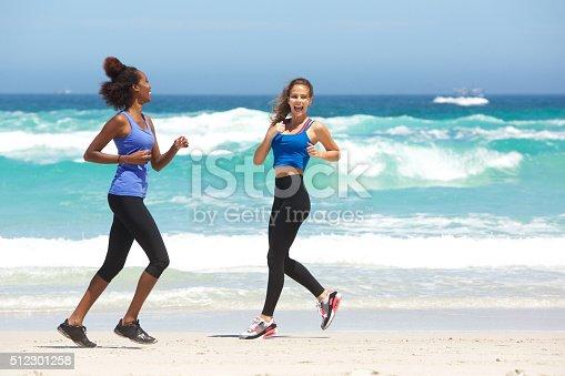 zwei junge frauen die joggen am strand stock fotografie und mehr bilder von 20 24 jahre istock. Black Bedroom Furniture Sets. Home Design Ideas