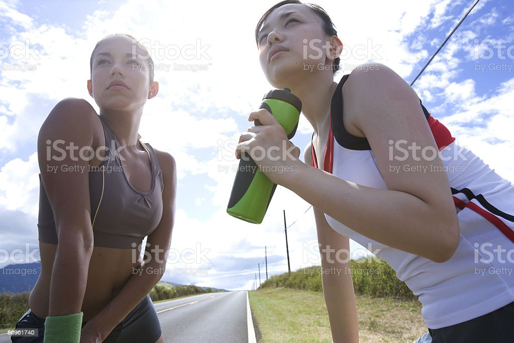 Two young women in sport clothing looking away royalty-free stock photo