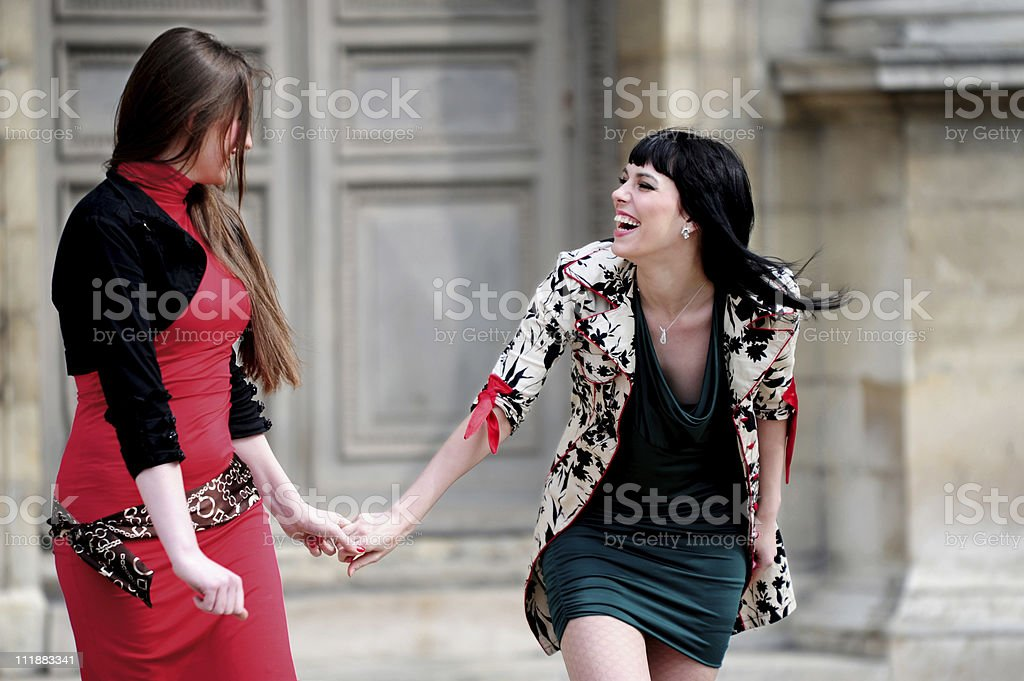 Two Young Women Laughing royalty-free stock photo