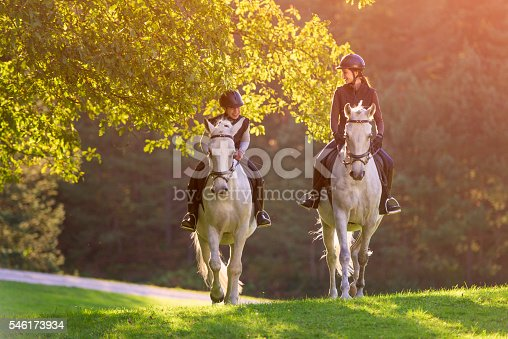 Two young women enjoying riding white  horses on meadow near forest.