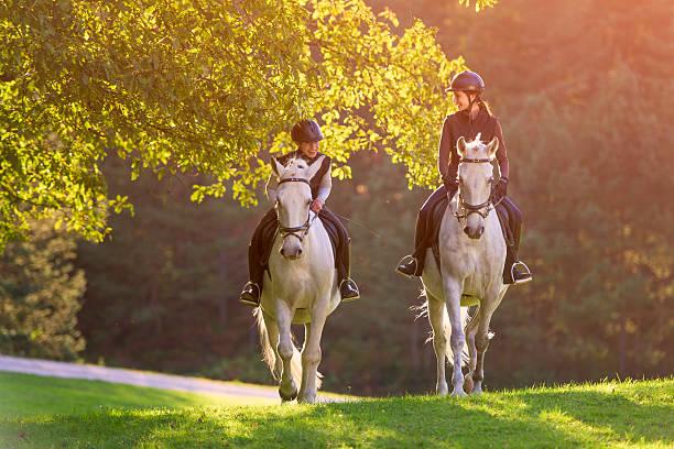 2 つの若い女性の自然の馬の乗馬 - 乗馬 ストックフォトと画像