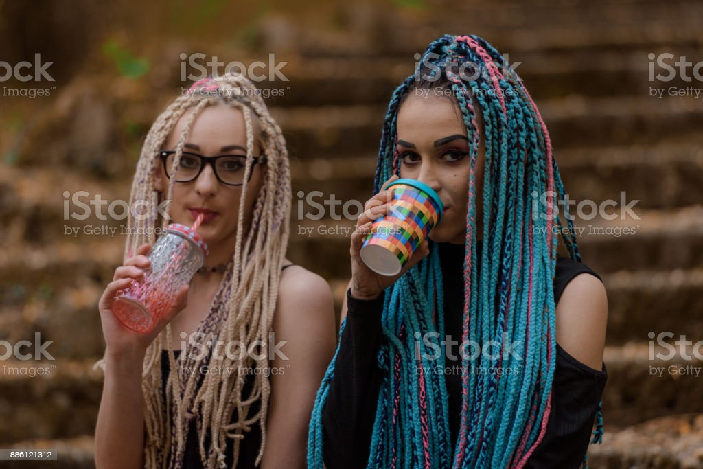Two young women with African braids stock photo