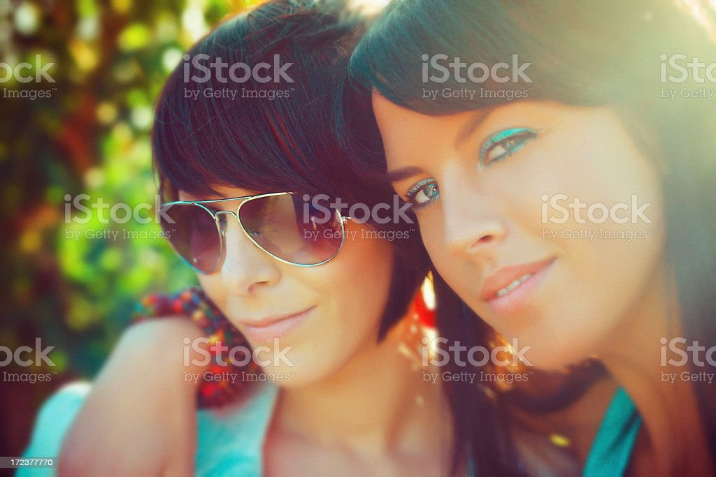 Two Young Yomen Enjoying the Summer royalty-free stock photo
