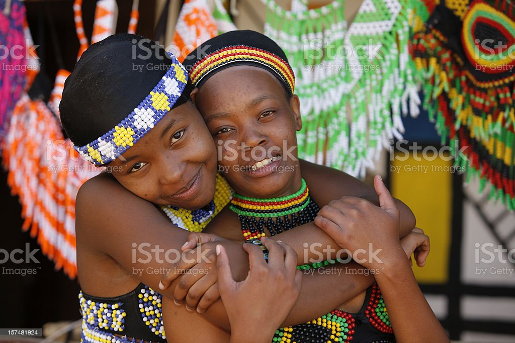 Two young Zulu friends from South Africa stock photo