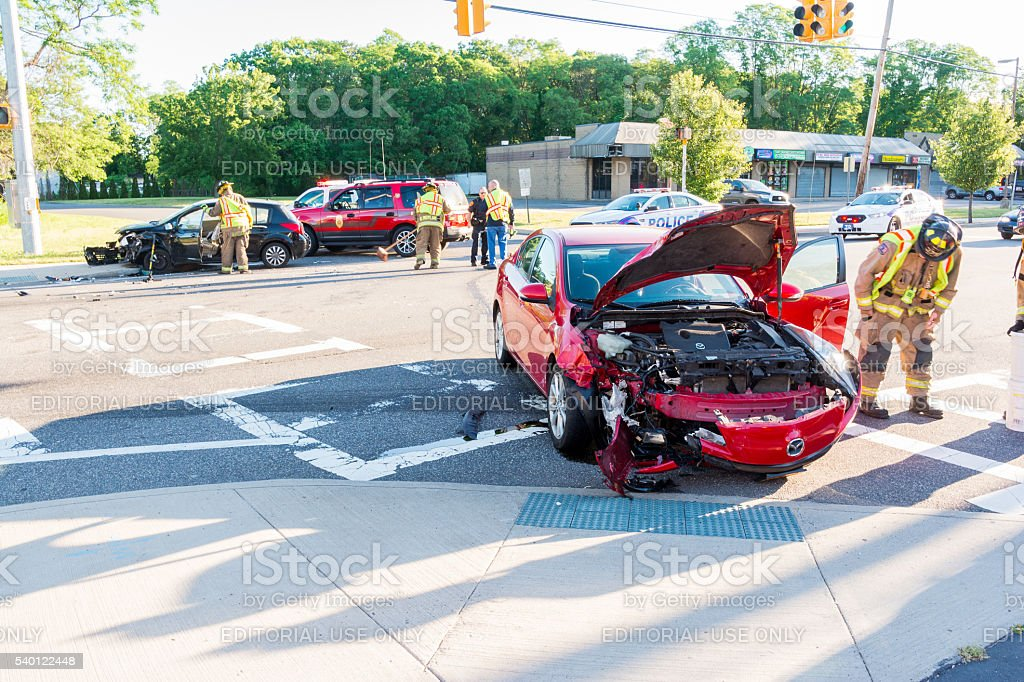 Two-Car Collision stock photo