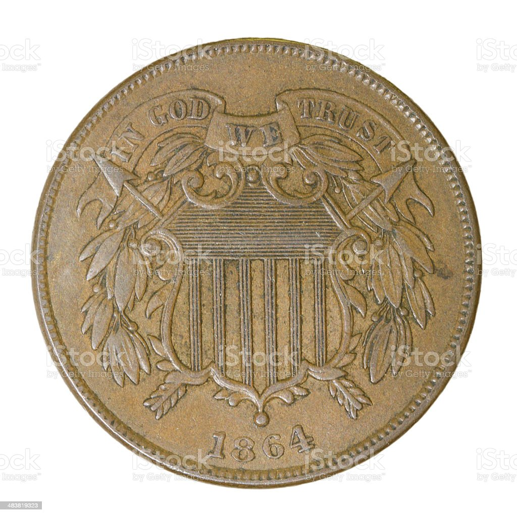 Two-cent Piece - 1864 Old U.S. Coin stock photo