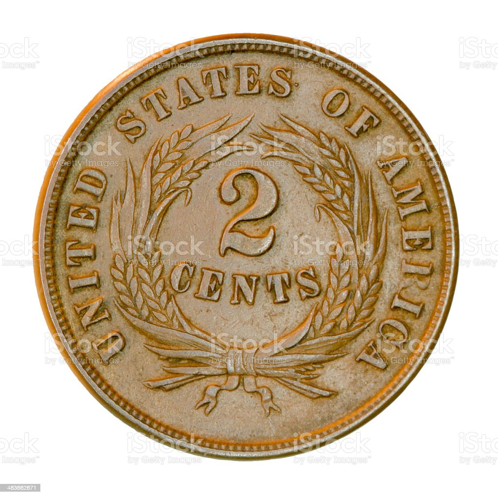 Two-cent Piece - Old U.S. Coin stock photo