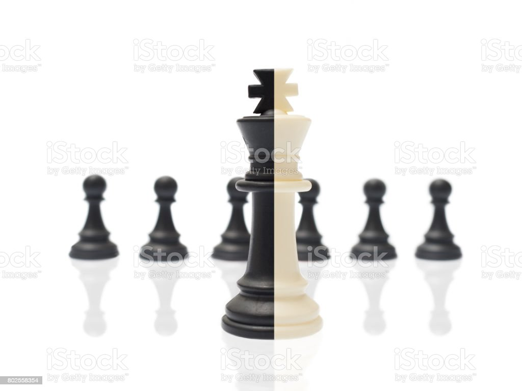 Two-color chess piece the on isolated white background stock photo