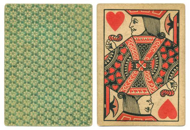 Two-colour Goodall Son playing card Jack of Hearts antique Out of copyright. Shown here is an antique Jack of Hearts published by Goodall & Sons (London) in about 1870. Only two colours were used, red and black, and the geometric back design is in one colour, making this a cheaper version of the playing card to make and to buy. whiteway stock pictures, royalty-free photos & images