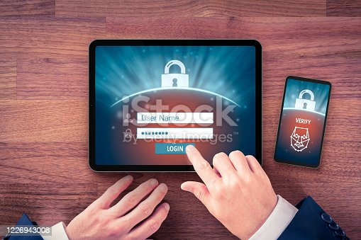 istock Two-factor authentication (2FA) and face identification 1226943008