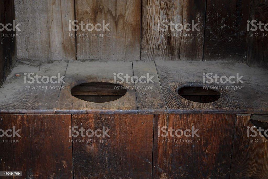 Two-Holed Outhouse stock photo