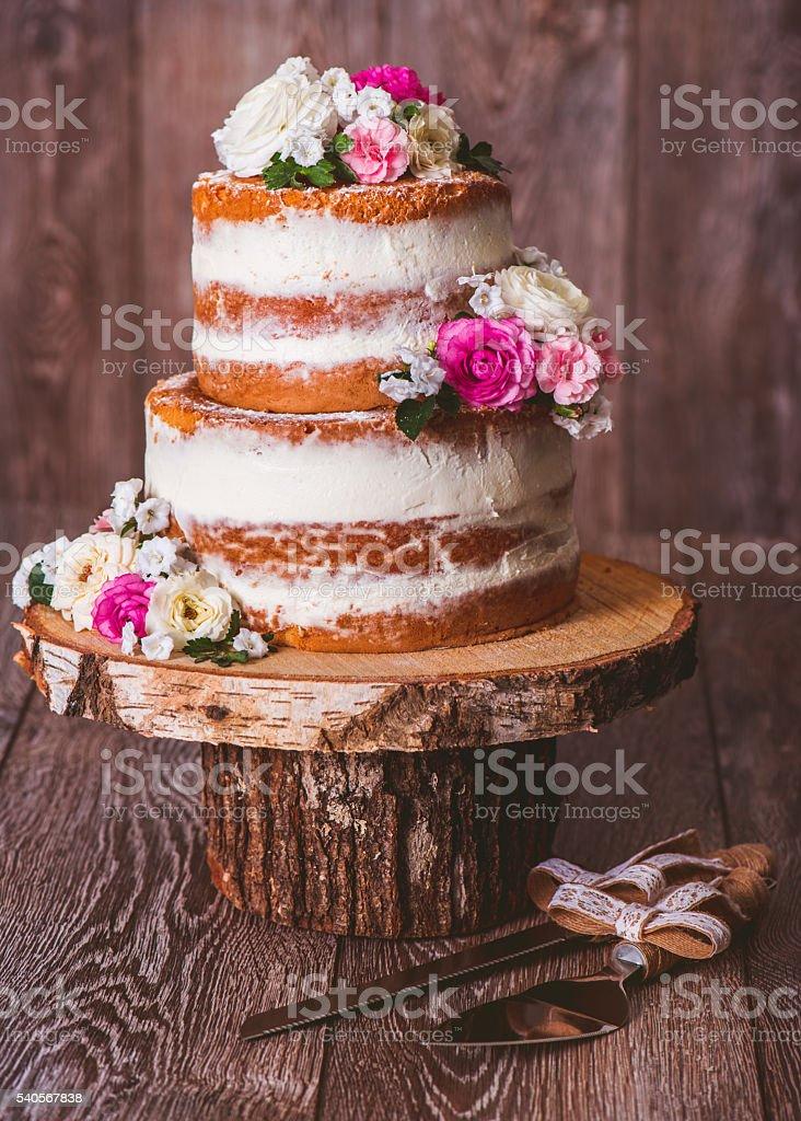 Duas camadas de bolo de casamento - foto de acervo