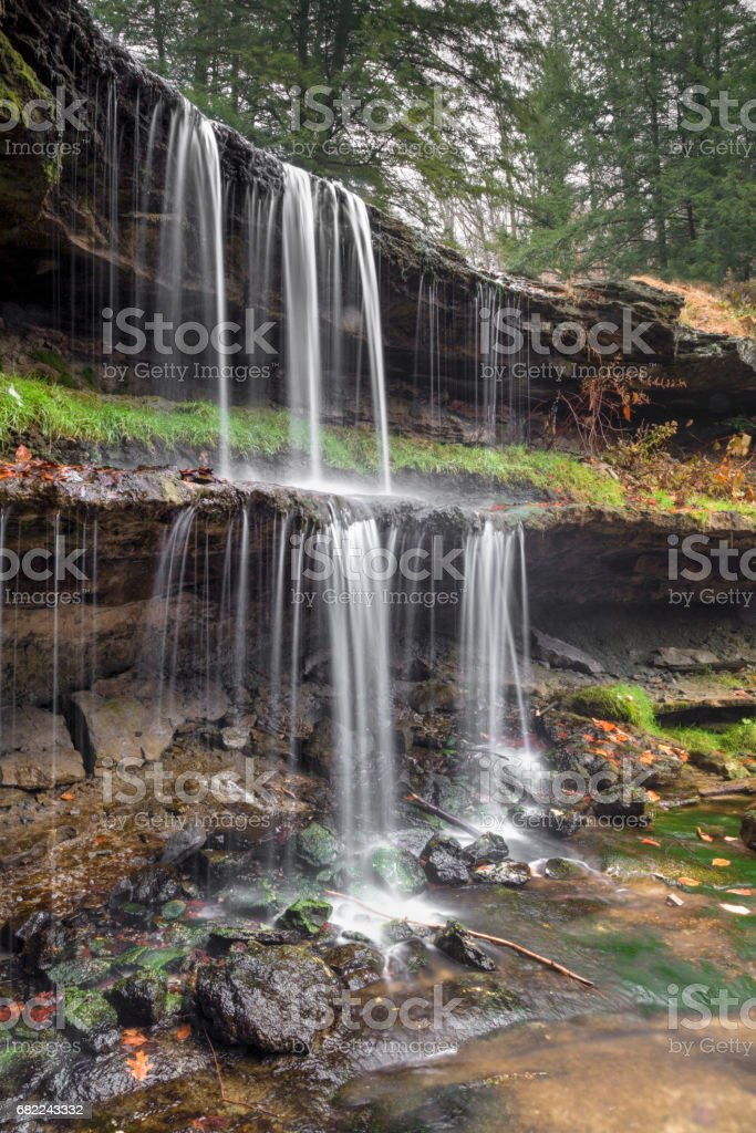 Two-Tiered West Virginia Waterfall stock photo