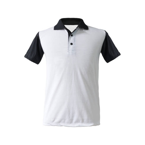 A twotone polo shirt black sleeve and collar on isolated background with clipping path. Fashion apparel in blank tk textile for your design. stock photo