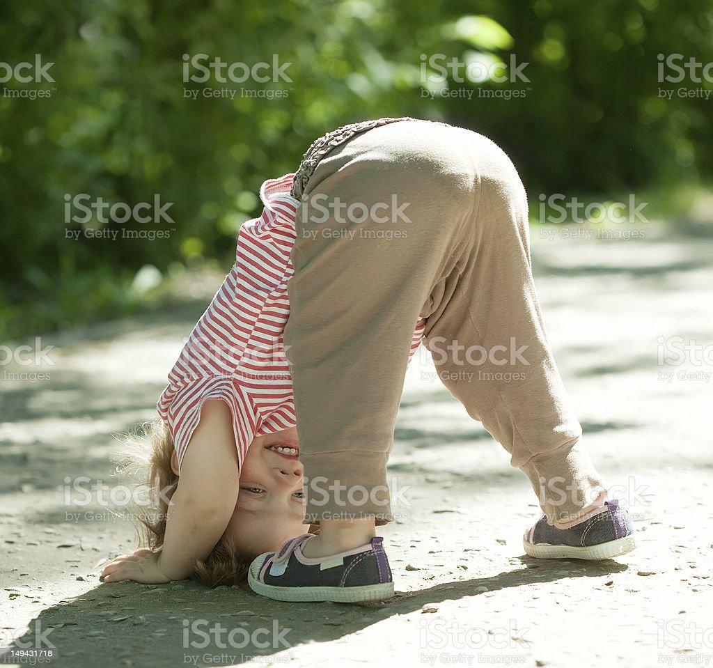 Two-year chid upside down stok fotoğrafı