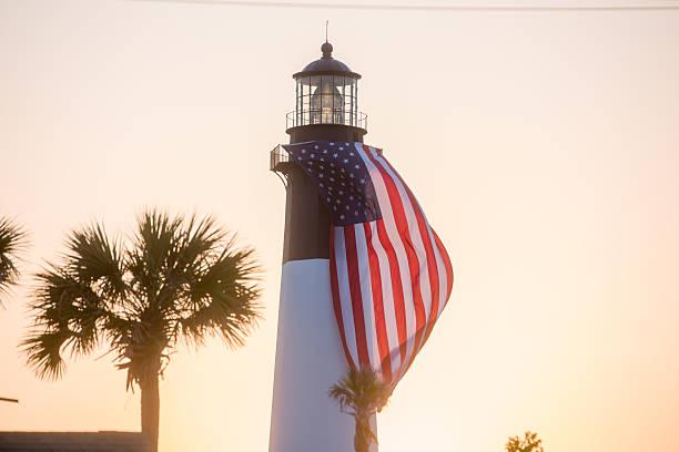 Tybee Island Lighthouse Sunset stock photo
