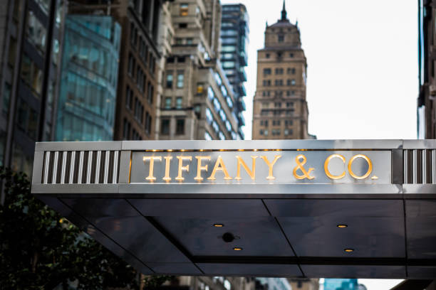 Tyffany and Co. store front in NYC on the 5th Avenue. stock photo
