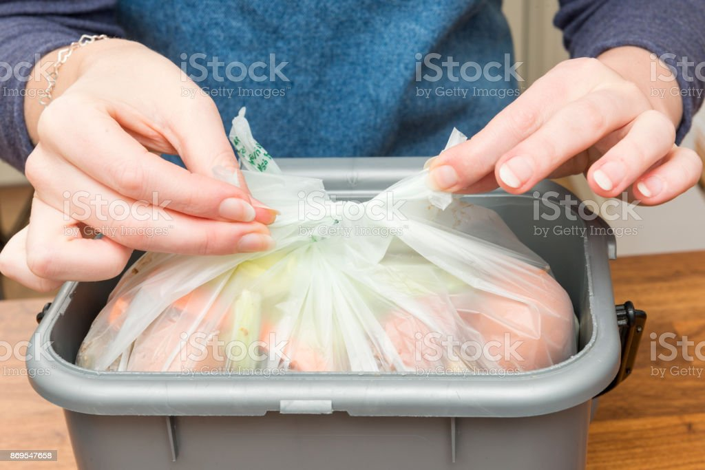 Tying a Plastic Bag Filled with Food Scraps in Waste Bin stock photo