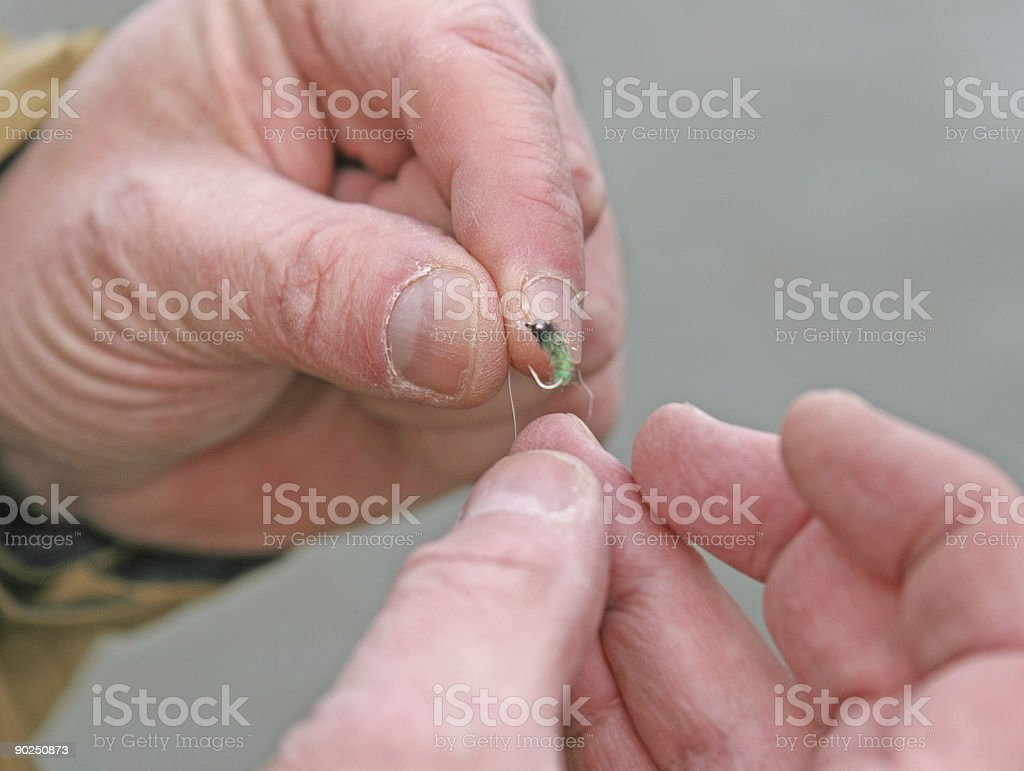 Tying on a fly royalty-free stock photo
