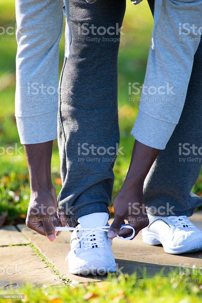 Tying Running Shoe stock photo