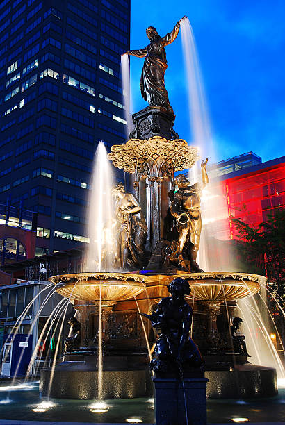 Tyler Davidson Fountain, Cincinnati The Tyler Davidson Fountain was dedicated in 1871.  It is one of Cincinnati's most visited sites cincinnati stock pictures, royalty-free photos & images
