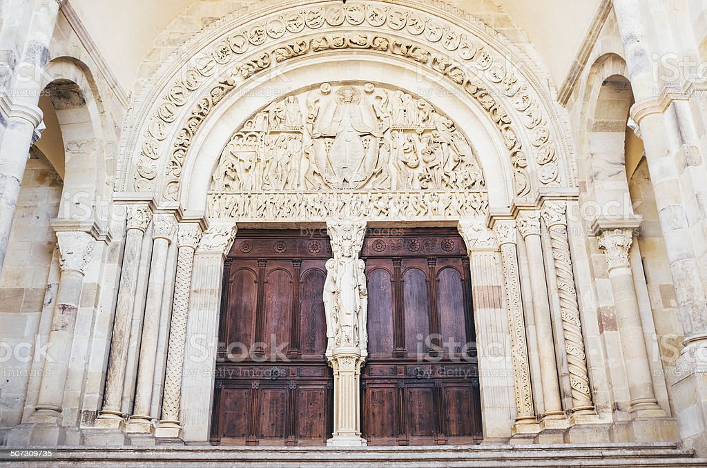 Tympanum at Autun Cathedral, Burgundy royalty-free stock photo