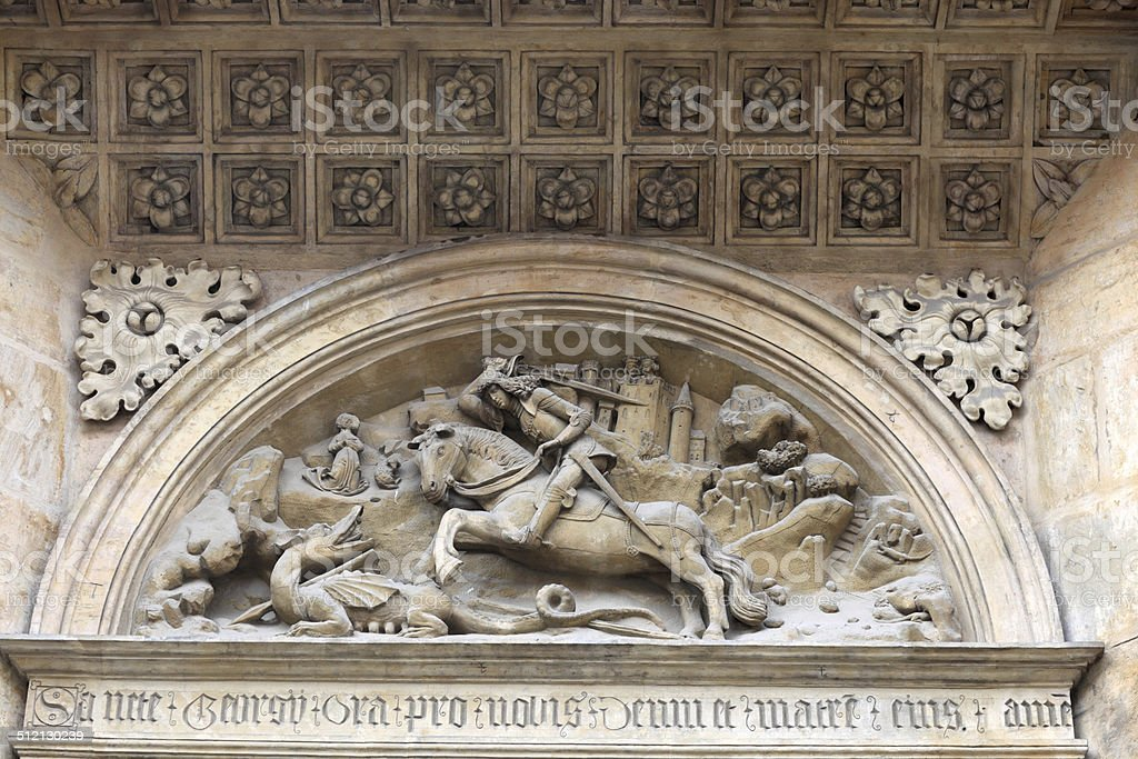 Tympanum basilica of St. George stock photo