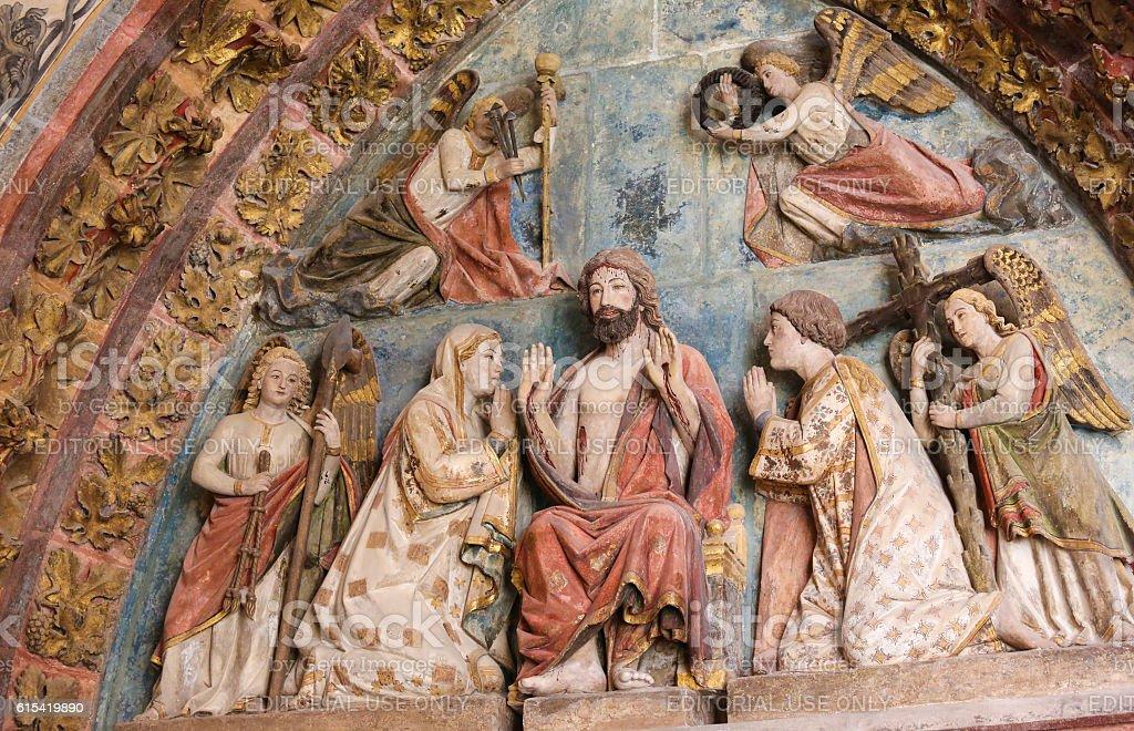 Tympanum in Burgos Cathedral, Spain stock photo