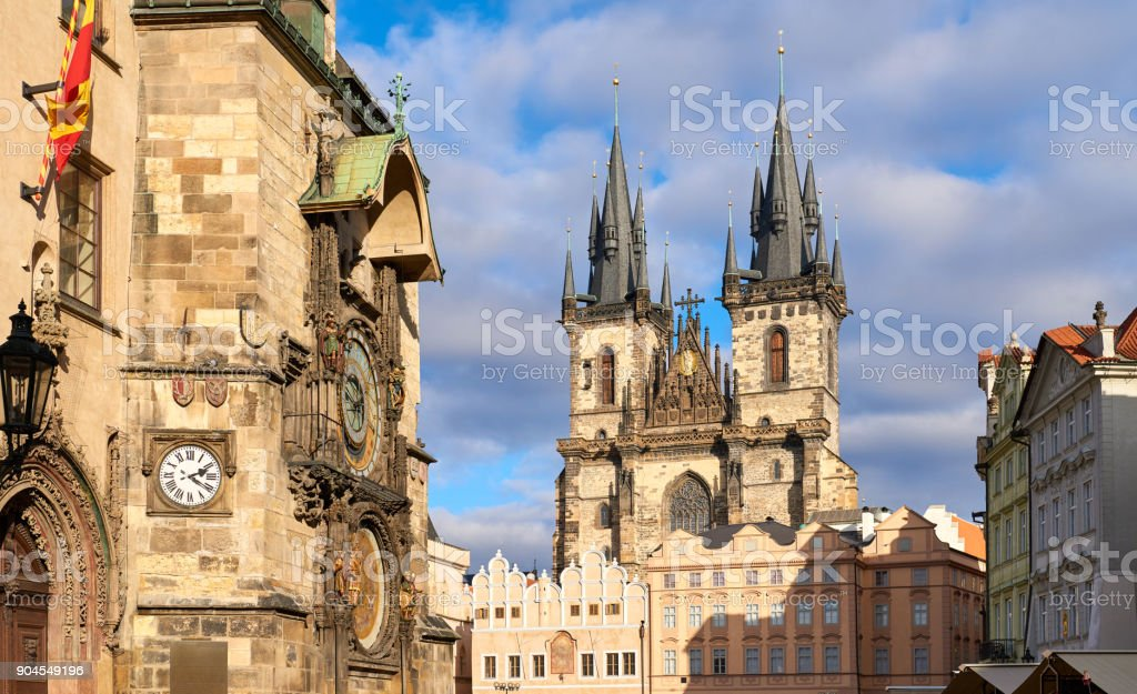 Tyn Church, Old Town Hall, Prague, Czech Republic stock photo