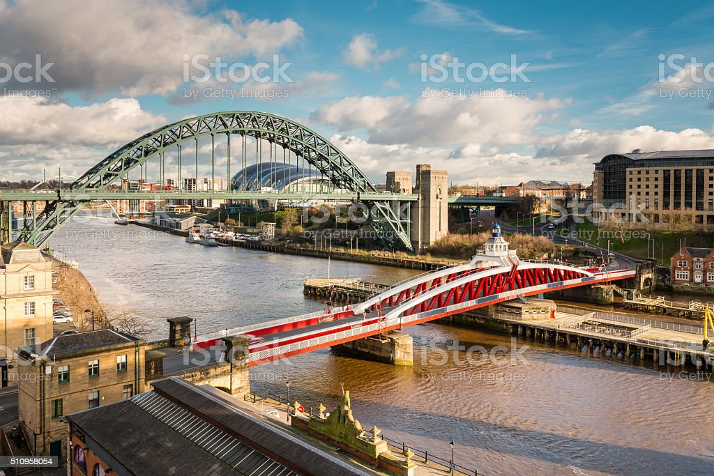 Tyne and Swing Bridges from above stock photo