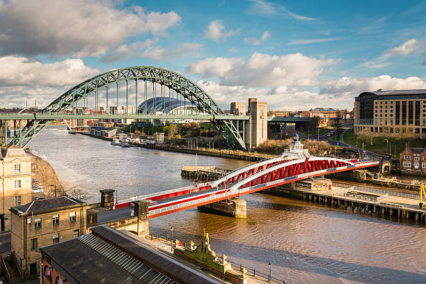 Tyne and Swing Bridges from above The iconic bridges over the River Tyne between Newcastle and Gateshead have become famous and attract many visitors to the quayside northeastern england stock pictures, royalty-free photos & images