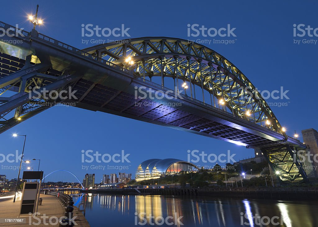 Tyne Bridge and River on the Newcastle Gateshead Quayside stock photo